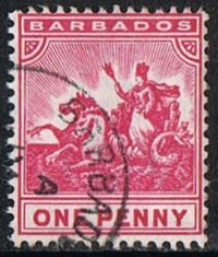 Barbados SG107 1892 Definitive 1d good/fine used